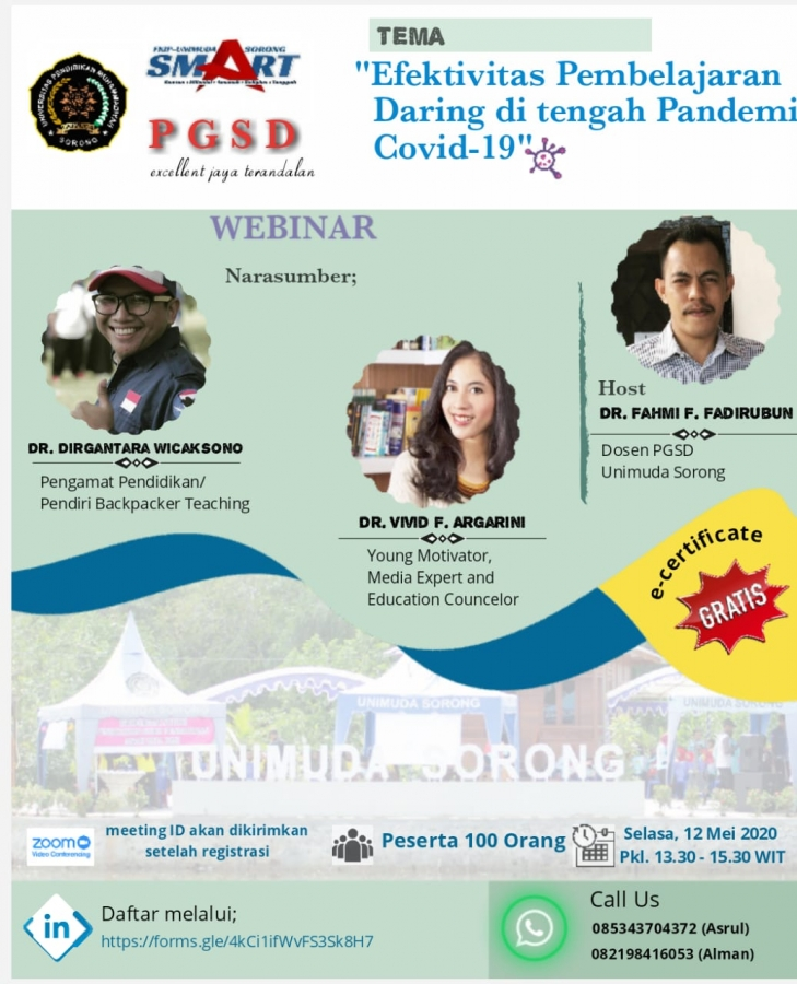 Prodi PGSD Unimuda Sorong mengadakan Seminar daring pertama dilingkup UNIMUDA Sorong dengan tema